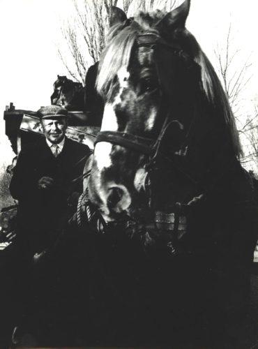 man op paardenkar WO I